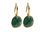 Glam Glam Earring Gold Green Aventurine