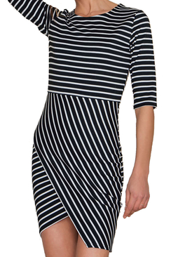 Lisa Dress Black Stripe