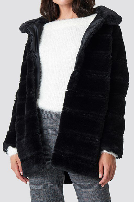 Panel Faux Fur Jacket