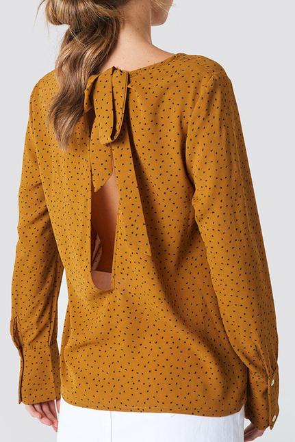 Print Back Open Blouse
