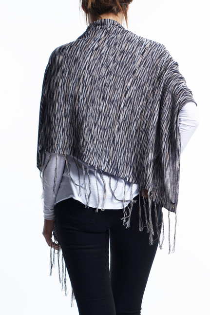 Fine Knit Poncho - Grey