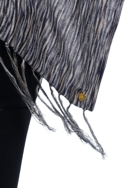 Fine Knit Poncho - Grey