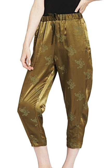 Cropped Trousers With Ruffles And Dragon's Embroidery