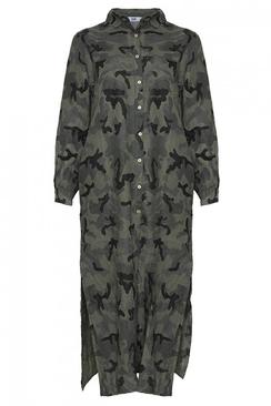 Tiffany Long Dress Linen Camo
