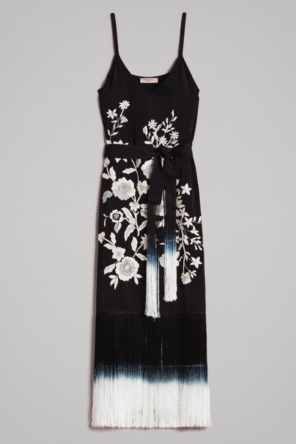 Floral embroidery and fringe long dress