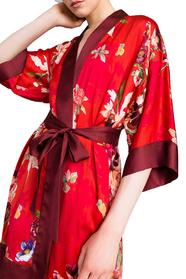 Long Floral Print Satin Kimono