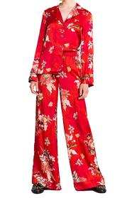 Floral Print Satin Palzzo Trousers