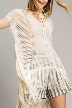 Mesh And Lace Stitch Fringed Poncho