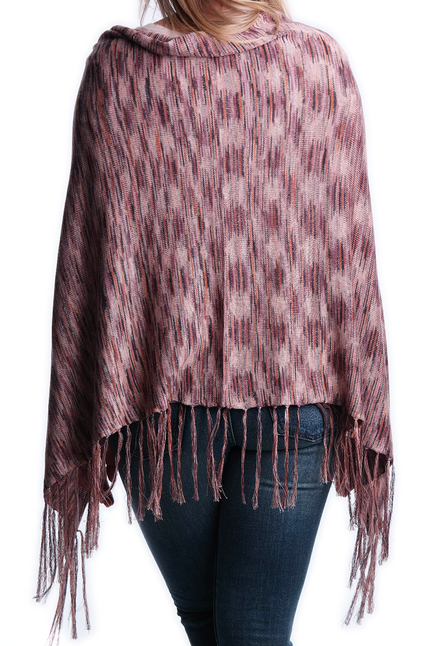 Fine Knit Poncho - Rose