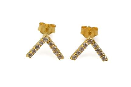 Strict Sparkling V Earring Gold