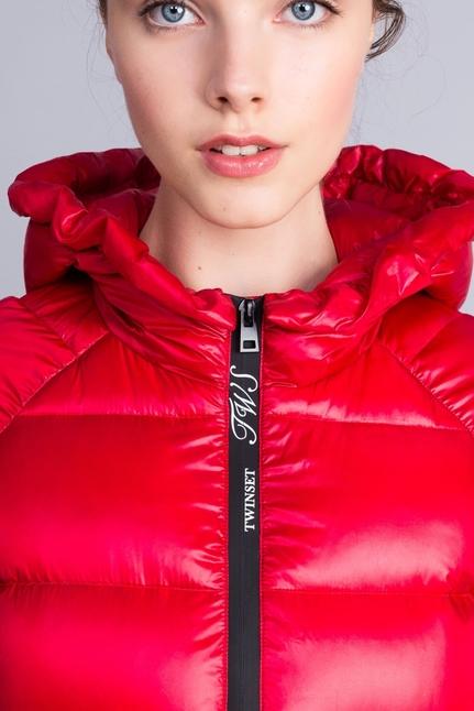 Long Shiny Nylon Padded Jacket