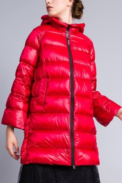 Long Shiny Nylon Padded Jacket