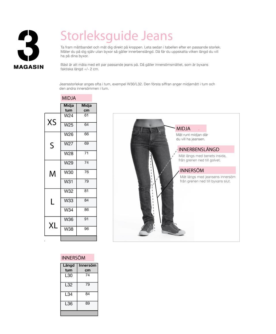 storlek på jeans