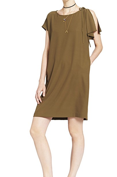 Half-Sleeved Flared Mini Dress